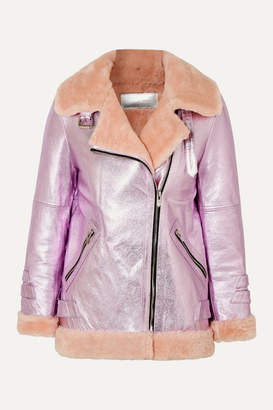 The Mighty Company - The Hayle Shearling-trimmed Metallic Leather Bomber Jacket - Pink