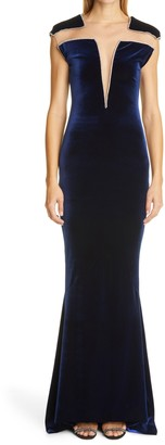 CDGNY by CD Greene Mallory Crystal Embellished Illusion Stretch Velvet Gown