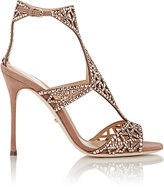 Sergio Rossi WOMEN'S EMBELLISHED TRESOR T-STRAP SANDALS-NUDE SIZE 7.5