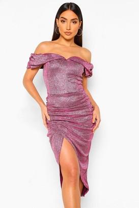 boohoo Off The Shoulder Shimmer Wrap Front Midaxi Dress