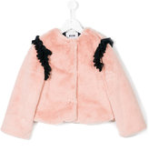 MSGM pleated trim furry coat