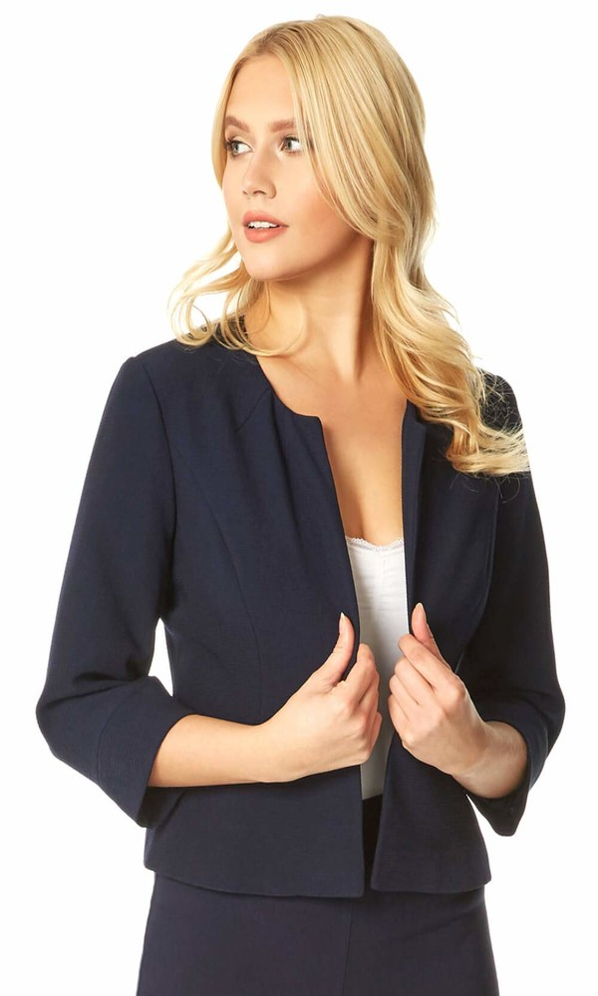 Roman Originals Womens Tailored Jacquard Cropped Bolero Jacket Ladies Round Collar Smart Casual Work Formal Evening Wedding Guests Lightweight Fitted Blazer Short Shrug