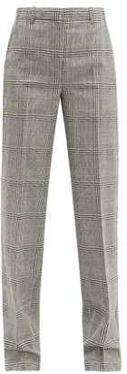 Versace Prince Of Wales-check Wool Straight-leg Trousers - Womens - Grey Multi
