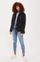 Topshop Women's Faux Shearling Trim Denim Jacket