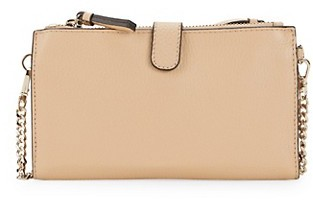 Saks Fifth Avenue Leather Double-Zip Wallet-On-Chain