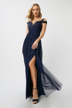 Little Mistress Bridesmaid Aliza Navy Sweetheart Maxi Dress