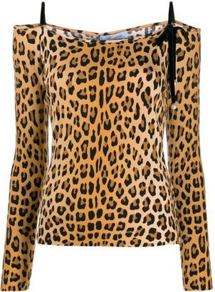 Blumarine off-shoulder leopard print top