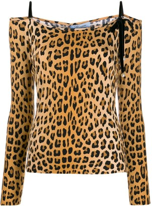Blumarine Off-Shoulder Leopard Print Top