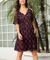 Reborn Collection Women's Casual Dresses Black - Black & Pink Geometric Cold-Shoulder Dress - Women & Plus