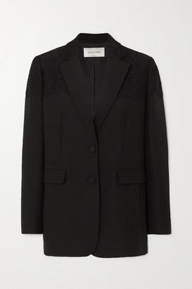 Valentino Corded Lace-paneled Wool And Silk-blend Blazer - Black
