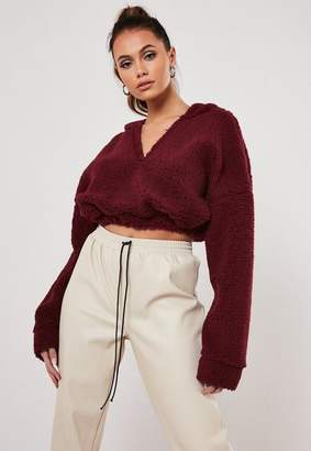 Missguided Petite Wine Borg Teddy V Front Cropped Hoodie