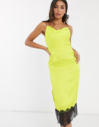 Qed London satin jacquard cowl neck midi dress with lace hem in lime