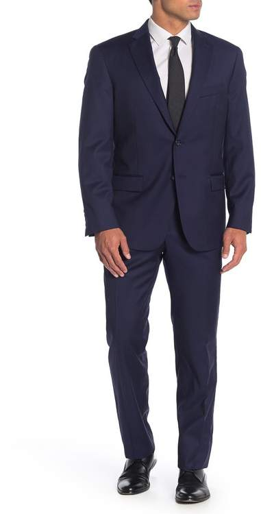 Hart Schaffner Marx Navy Solid Two Button Notch Lapel Wool Classic Fit Suit