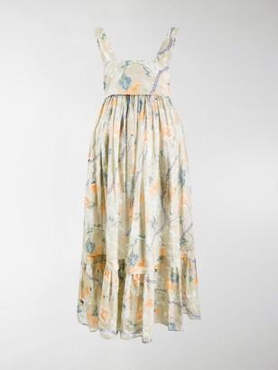 Chloé Floral-Print Tiered Midi Dress