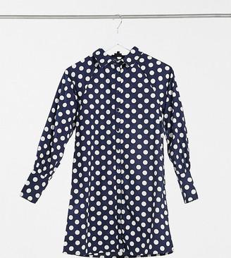 Wednesday's Girl relaxed mini shirt dress in polka dot