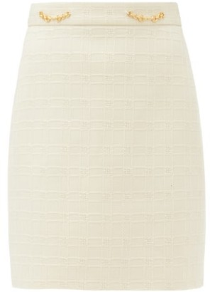 Gucci Horsebit-plaque Cotton-blend Tweed Mini Skirt - Ivory