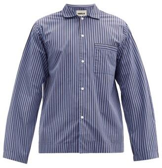 Tekla Striped Organic Cotton-poplin Pyjama Top - Navy/black