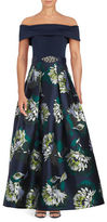 Eliza J Off-The-Shoulder Floral Printed Pleated Gown