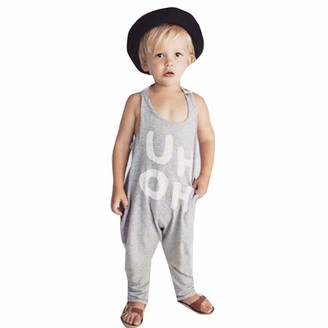 H.eternal Baby Girl Romper Boys Sleeveless Jumpsuit Backless UH OH Letter Print Playsuit Nightwear Sleepwear Long Pant Outfit Nightgown 100% Cotton Nightwear Grey