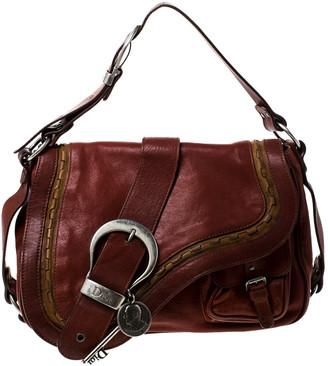 Christian Dior Maroon Leather Double Saddle Shoulder Bag