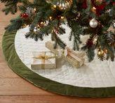Pottery Barn Velvet Tree Skirt - Ivory with Green Cuff