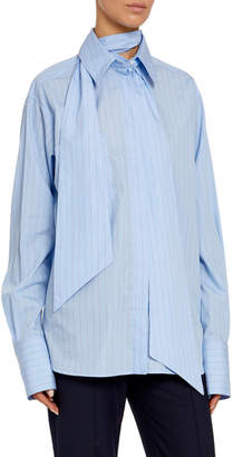 Rokh Oversized Striped Poplin Tie-Neck Shirt