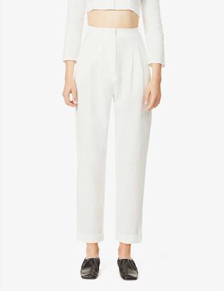 Le Kasha High-rise wide linen trousers