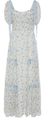 LoveShackFancy Jessie Bow-Tie Detailed Floral-Print Silk Dress