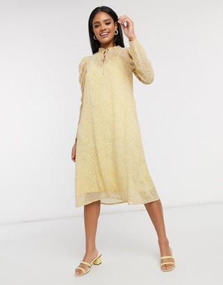 Vero Moda Aware chiffon midi dress with volume sleeve in yellow ditsy floral