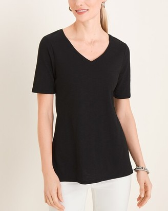 Chico's Cotton-Blend Slub V-Neck Elbow-Sleeve Tee