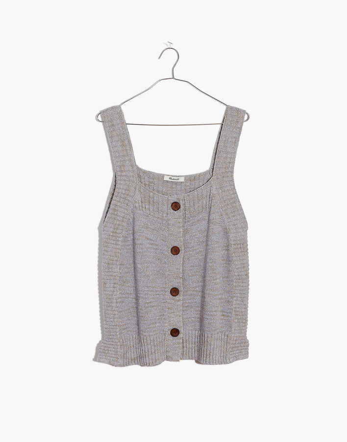 Marled Rowe Button-Front Sweater Tank