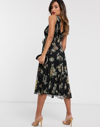 Asos DESIGN wrap bodice midi dress with tie waist and pleat skirt in dark floral print