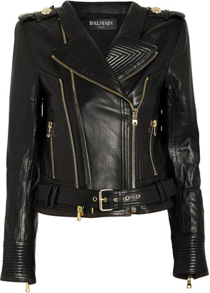 Balmain Cropped Leather Moto Jacket