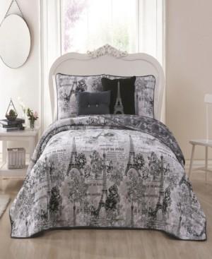 Blush Lingerie Amour Paris Themed 4pc Twin Reversible Quilt Set