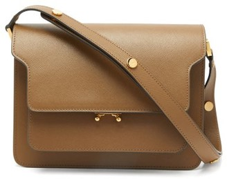 Marni Trunk Medium Saffiano-leather Shoulder Bag - Brown