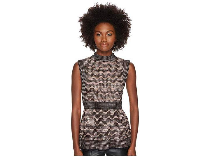 M Missoni Lurex Greek Open Knit Top Women's Clothing