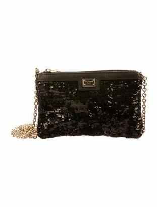 Dolce & Gabbana Sequin Crossbody Bag Black
