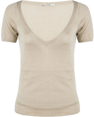 Prada Beige Knit V Neck Short Sleeve Sweater M