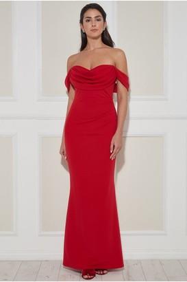 Goddiva Cowl Neck Off the Shoulder Maxi Dress - Red