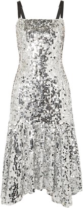 Dolce & Gabbana Asymmetric Sequined Tulle Dress