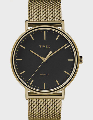 Timex Fairfield 41mm Stainless Steel Mesh Band Gold-Tone & Black Watch