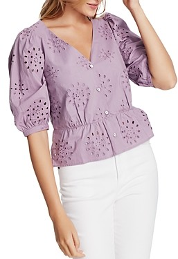 1 STATE Cotton Eyelet Button-Front Top