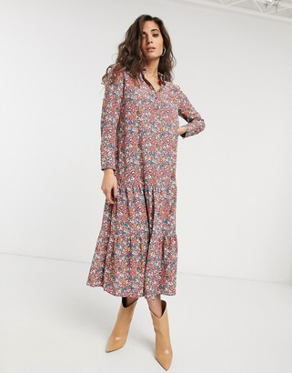 Topshop floral midi shirt dress in multi