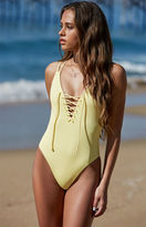 La Hearts Ribbed Lace-Up One Piece Swimsuit