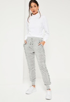Missguided Grey Ruffle Full Length Casual Joggers
