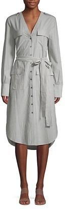 Calvin Klein Striped Cotton Blend Button-Front Dress