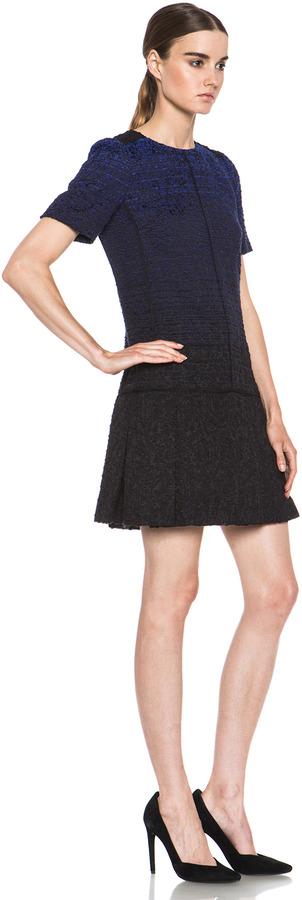 Proenza Schouler Drop Waist Cotton-Blend Dress in Blue Ombre