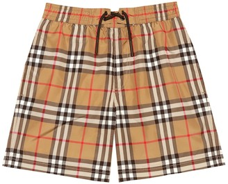 BURBERRY KIDS Vintage Check swim trunks