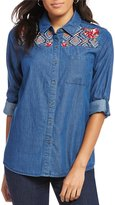 Intro Petites Long Roll-Tab Sleeve Embroidered Yoke Button Front Denim Shirt