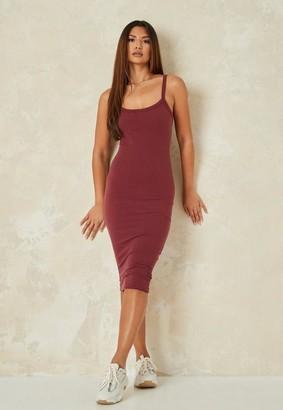 Missguided Burgundy Rib Scoop Cami Midi Dress